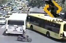تصادف اتوبوسهای شرکت واحد بخاطر لجبازی رانندگان!