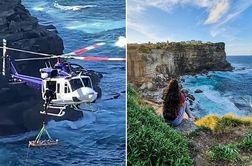 سلفی مرگبار دختر جوان بر فراز صخره بلند