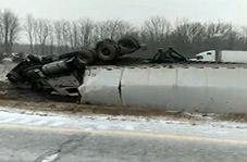 حادثه وحشتناک به دلیل یخ زدگی جاده