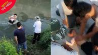 نجات دختر در حال غرق شدن توسط کارگر قهرمان!