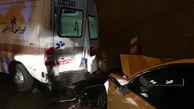 تصادف وحشتناک در کرج و مصدومیت امدادگران اورژانس! + فیلم