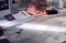 بی احتیاطی راننده پمپ بنزین را به آتش کشید!