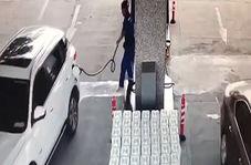 مصدوم شدن کارگر پمپ بنزین به دلیل بی احتیاطی یک راننده