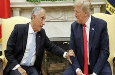 غافلگیر شدن ترامپ در دست دادن با رئیس جمهور پرتغال + فیلم
