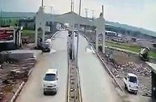 لحظه وقوع انفجار در منطقه مرزی کیلیس میان سوریه و ترکیه