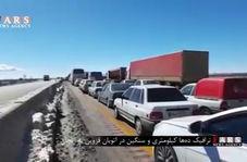 فیلم/  ترافیک دهها کیلومتری در اتوبان قزوین - زنجان
