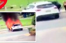 فداکاری مادر جوان در نجات کودکان پیش از انفجار خودرو