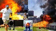 آتش گرفتن چمن ورزشگاه پیش از شروع بازی فوتبال!