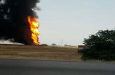 انفجار لوله نفت در خوزستان با ضربه بیل مکانیکی