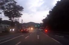 وقوع تصادفی شدید با تغییر مسیر ناگهانی خودروی سواری!