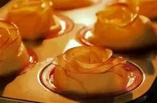 تزیین سیب به شکل قو و گل رز