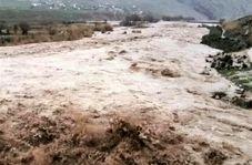 جاریشدن سیلاب در روستای حسینان دامغان