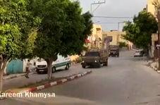 مقابله جوانان فلسطینی با کاروان نظامیان صهیونیست