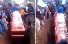 بیرون افتادن جنازه حین یک مراسم خاکسپاری!