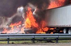 برخورد تریلی با کامیون فاجعه آفرید