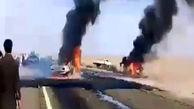 تصادف و آتشسوزی دو خودروی پژو در ریگان