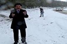 حمله با گلولههای برفی به کارشناس هواشناسی