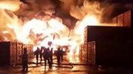 آتشسوزی هولناک در بزرگترین انبار صنعتی سنپترزبورگ