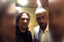 بدلکار معروف در جشن حافظ کلهاش را آتش زد!