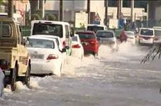 ترافیک در خیابانهای دوحه به دلیل وقوع سیل