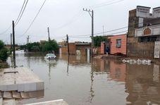 آب گرفتگی شدید جاده شمال سوسنگرد به بستان