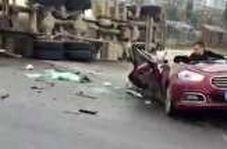 تصادف وحشتناک کامیون با خودرو در چین